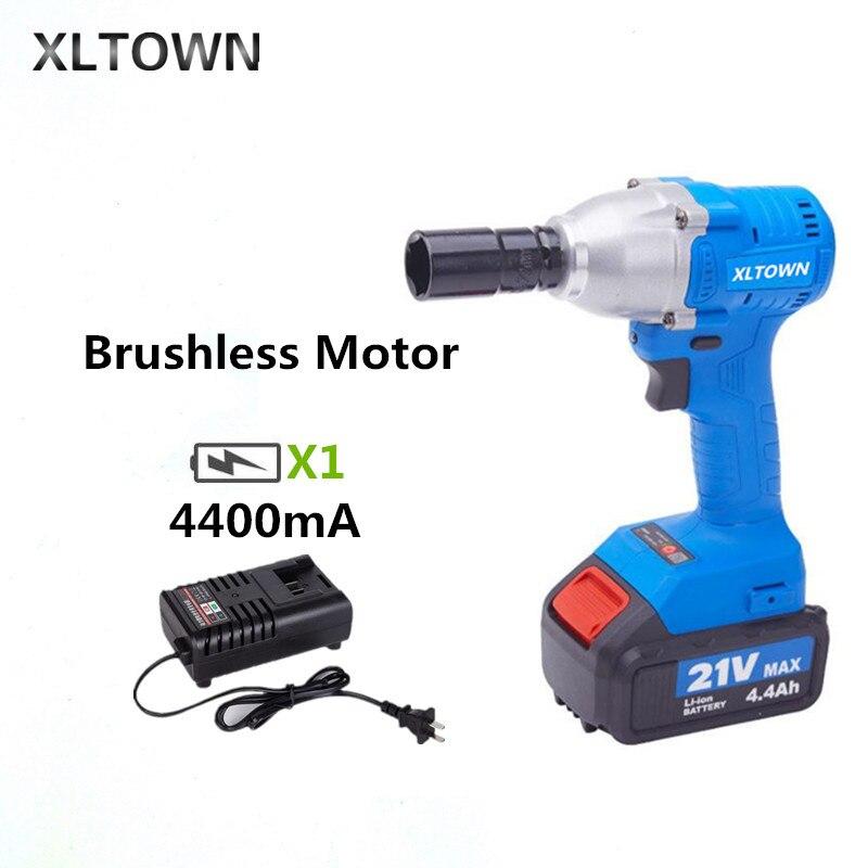 XLTOWN 21 V clé électrique sans brosse 4400 mAh batterie haut de gamme rechargeable batterie au lithium ménage sans brosse clé électrique