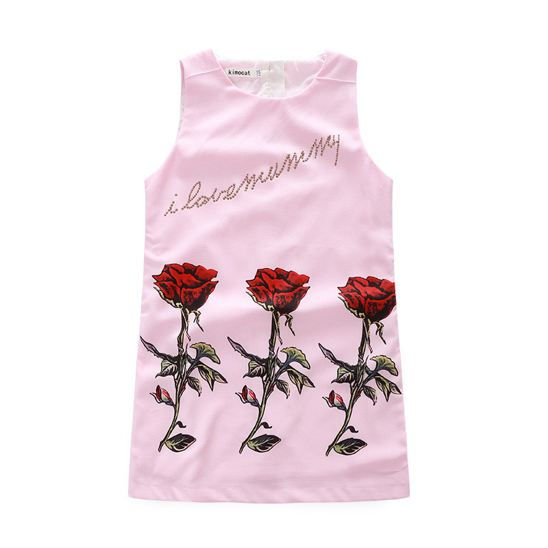 2018 New Mother's Dress Rose Sequins Vest Skirt Children Princess Version Cute Stitched Clothing 3 10Y Floral Star Sleeveless
