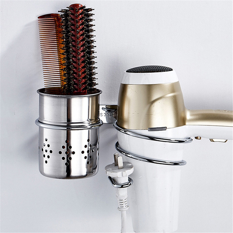 1pc Bathroom Wall Mounted Hair Dryer Comb Rack Space Aluminum Shelf Storage Organizer Hairdryer Holder High Quality