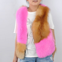 60 см Для женщин зима реальный лисий мех жилет осень яркий Цвет ярко розовый натуральный красный лисий мех жилет натуральная лиса меховой жи