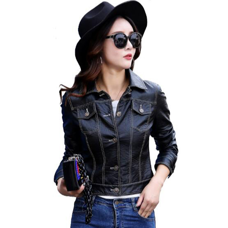 2017 Imitation Leather font b Jacket b font winter Autumn font b Women b font Clothing