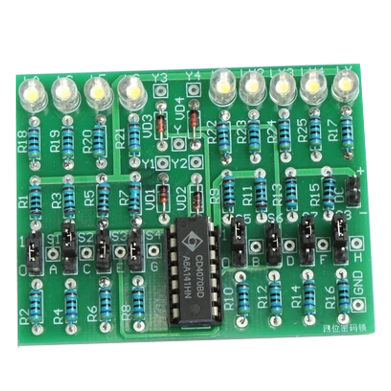 DIY Kit 4Bit Password Lock Suit CD4070 DC 5V Electronic Experiment Kit for Professional Teaching Electronic Enthusiasts