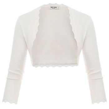 Grace Karin Women Shrug cardigan tops 3/4 Sleeve Open Front Slim Bolero Party Copped Retro Scalloped Knitting Jacket Summer Coat 12