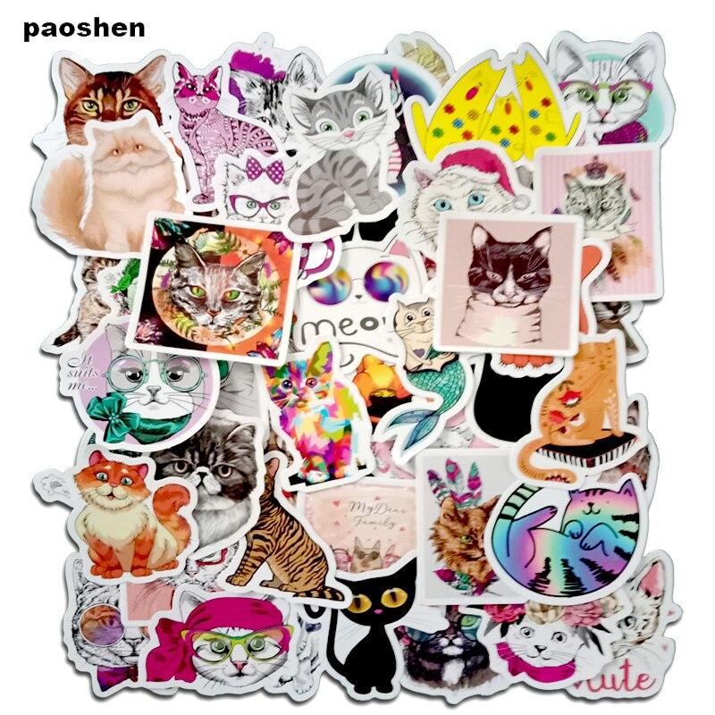 50Pcs Pretty Cat Stickers For Writing Journal Pens Pencil Bags Graffiti Bathroom Graffiti Guitar Skateboard Bike Stickers