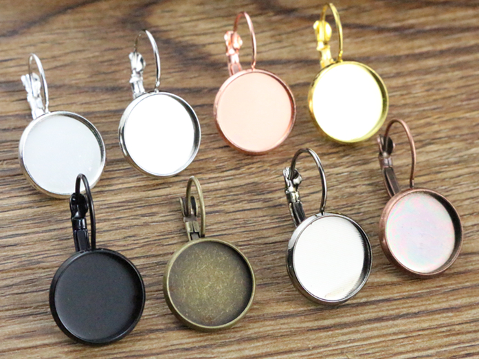 14mm 10pcs 9 Colors Plated French Lever Back Earrings Blank/Base,Fit 14mm Glass Cabochons,Buttons;Earring Bezels new 12mm 10pcs lot 14 colors plated french lever back earrings blank base fit 12mm glass cabochons buttons earring bezels