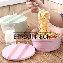 20pcs creative Japanese style tableware Large Wheat Straw Plastic Bowl Set Bowl With Lid Noodle Bowl Household Utensils
