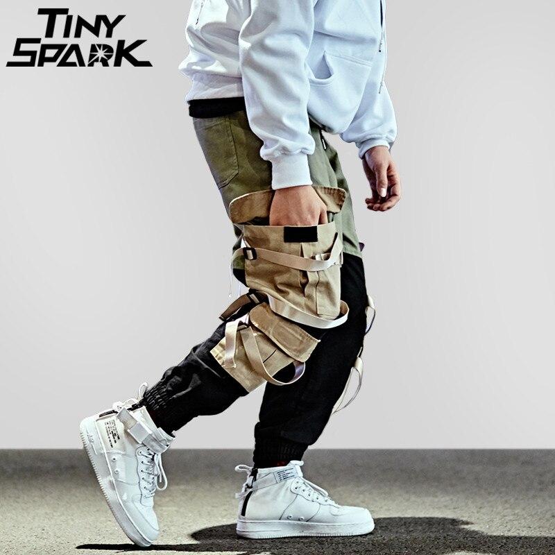 Хип хоп Брюки карго Уличная Для мужчин мешковатый гарем лоскутное мульти карман мотобрюки повседневное Tatical Swag ленты Harajuku 2018