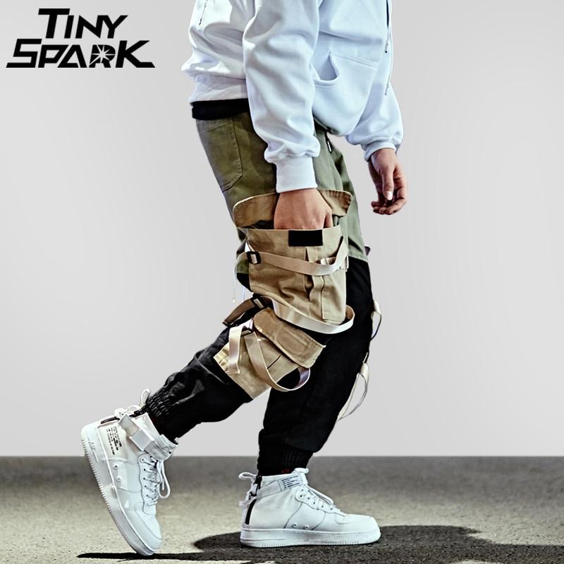 Hip Hop Cargo Pantalon Streetwear Hommes Baggy Harem Pantalon Patchwork Multi Poche Pantalon Occasionnel Tatical Pantalon Butin Ruban Harajuku 2018
