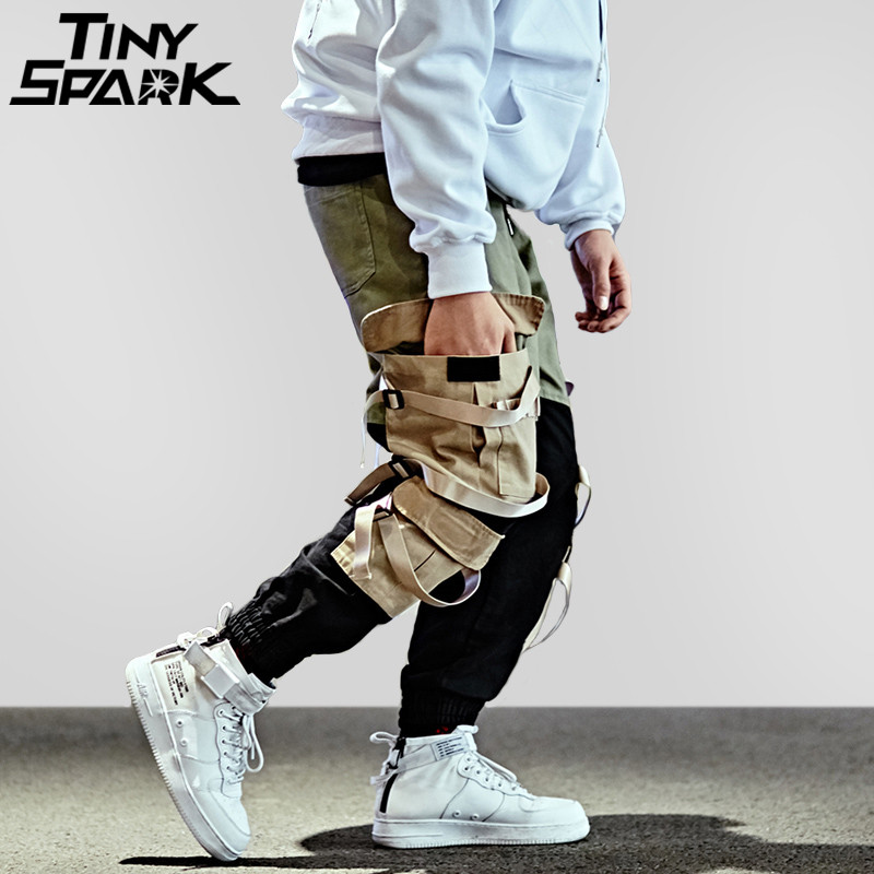 Hip Hop Cargo Pant Streetwear Men Baggy Harem Pant Patchwork Multi Pocket Trousers Casual Tatical Pant Swag Ribbon Harajuku 2018