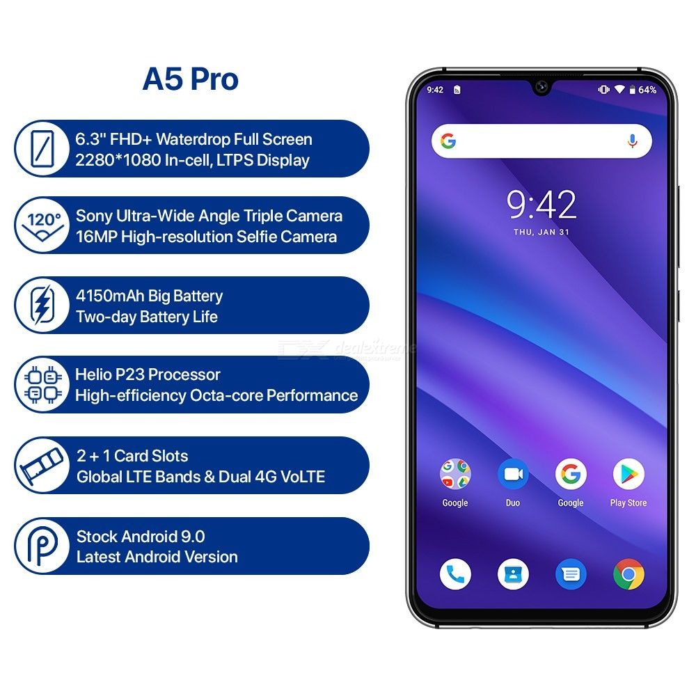 Image 5 - UMIDIGI A5 PRO Android 9.0 Octa Core 32GB 6.3' FHD+ Waterdrop 16MP Triple Camera Dual 4G  4150mAh 4GB RAM 4G Celular Smartphone-in Cellphones from Cellphones & Telecommunications