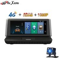 WHEXUNE Автомобильный Dvr 8 Touch 4 г Android 5,1 Wi Fi gps FHD 1080 P Запись видео двойной объектив регистратор консоли регистраторы Встроенная память 16 Гб ADAS ка