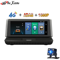 WHEXUNE Car Dvr 8Touch 4G Android 5.1 Wifi GPS FHD 1080P Video Record Dual Lens Registrar console Dash cam ROM 16GB ADAS camera