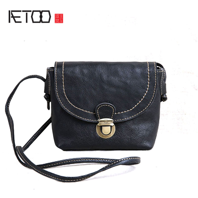 AETOO new mini female bag small leather leather simple retro leather shoulder bag Messenger bag aetoo new leather diagonal female bag korean fashion tassel lady bag leather shoulder messenger bag