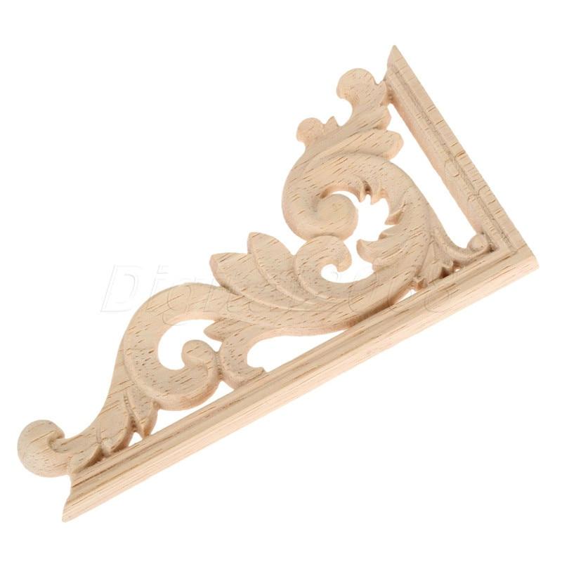 Wood Carved Corner Onlay Applique Unpainted Frame Decal carpenter Decoration Furniture Decor 1Pcs Left /Right 13*7*0.8CM-in Corner Brackets from Home Improvement