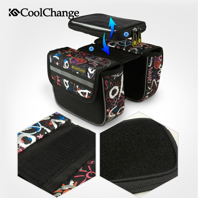 CoolChange Cycling Bike Front Frame Tube Pannier Double Pouch