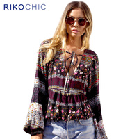 Tropical Floral Print Striped Ethnic Boho Blouse Women Tops Beachwear Deep V Neck Plus Size Long