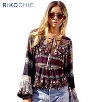Tropical Floral Print Striped Ethnic Boho Blouse Women Tops Beachwear Deep V Neck Plus Size Long