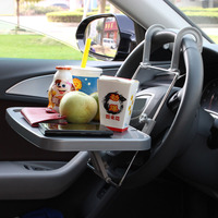 Car SUV Auto Laptop Tray Table Fold Stand Holder Steering Wheel Mount Desk Grey
