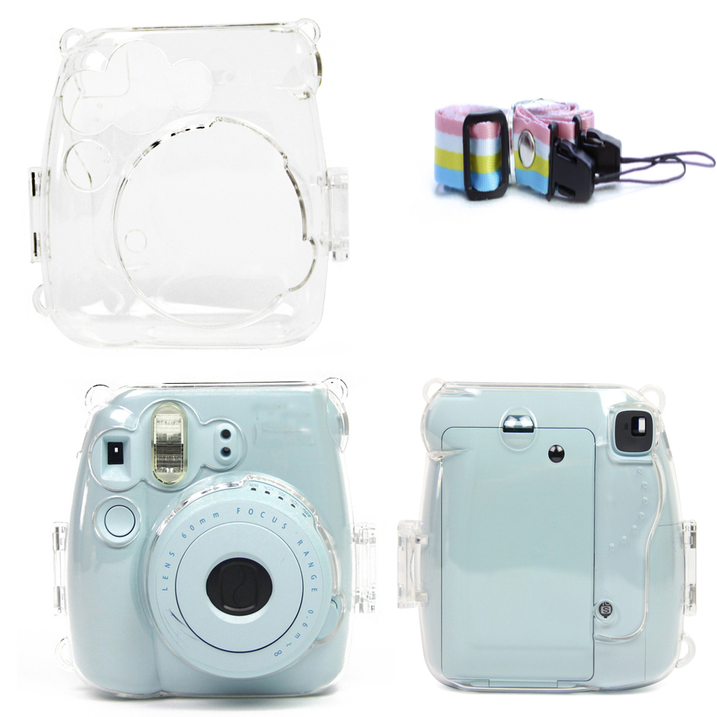 Clear Hard Case Protector Cover for Fujifilm Instax Mini 8/9 with Strap Camera