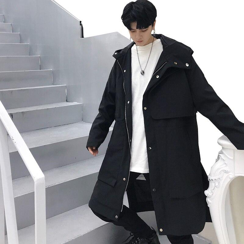 Disinteressato Maschio Streetwear Hip Hop Uomini Giacca A Vento Allentato Casual Lunga Con Cappuccio Trench E Impermeabili Cappotto Punk Gothic Cappotto Mantello
