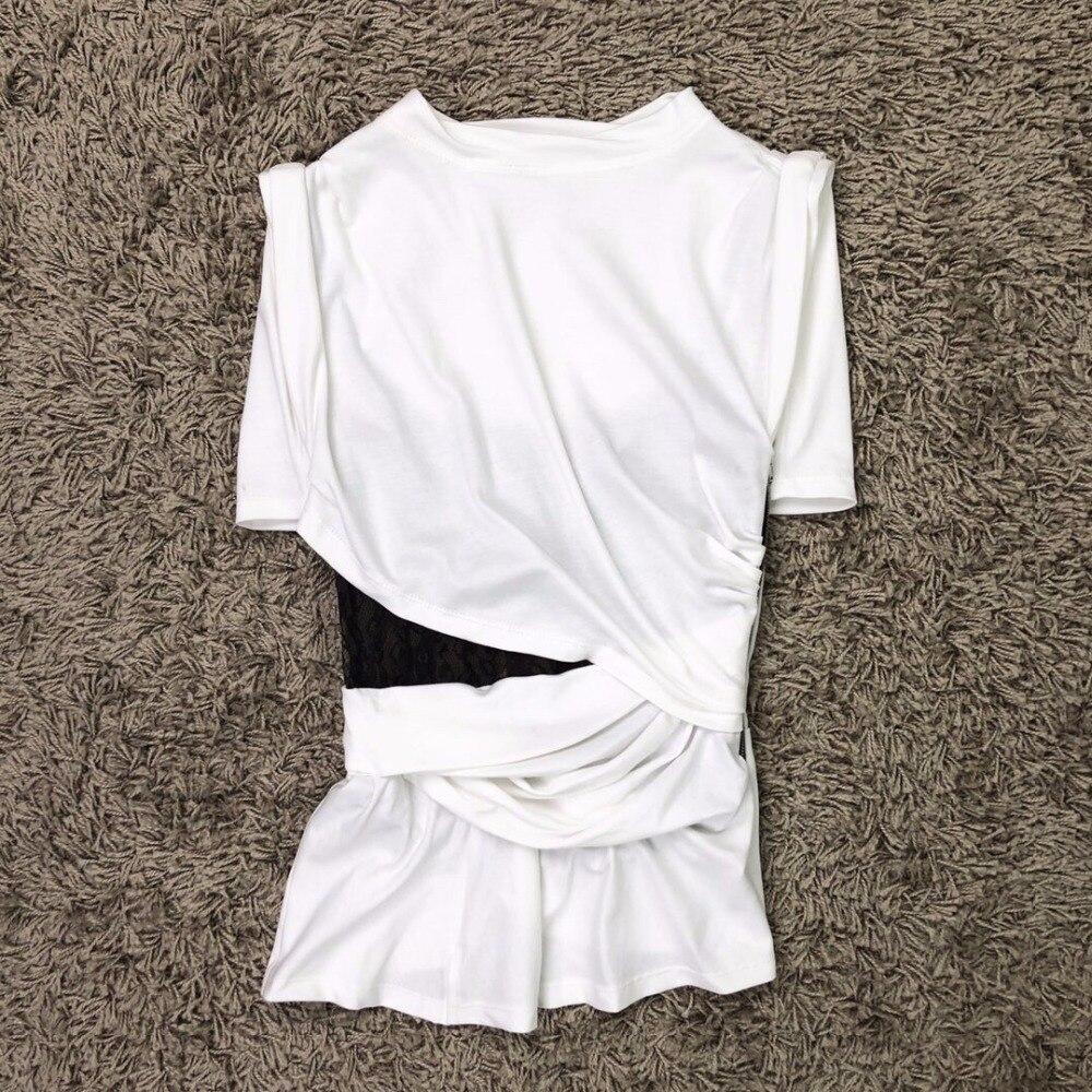 2019 De Qualité Dentelle shirt Nouveau Femmes Tops T Printemps Ddxgz3 Patchwork Haute 14tqr1w