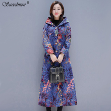 Hoodies Thicken Velvets Print Parka Coats Women Winter Plus Size Liner Pockets slim Warm Ladies Down Cotton Coat Autumn