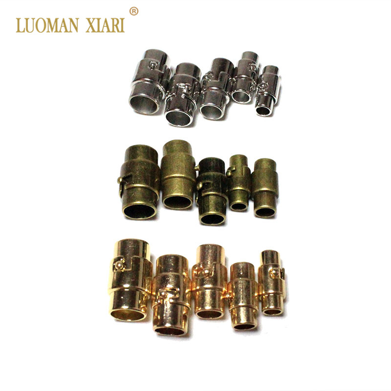 10pcs/lot Silvery Golden Copper Colors Circular Rotate Magnetic Clasps Leather Cord Bracelets Connectors For DIY Jewelry Making