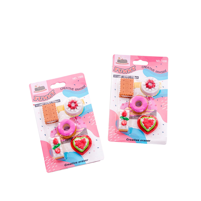 12packs/lot Kawaii Cookie Donut Eraser Set Funny Students' Gift Kids's Puzzle Toy Office School Stationery Supplies