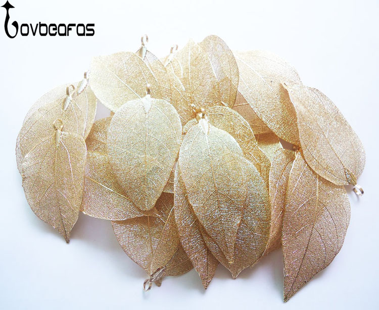 LOVBEAFAS Wholesale 50 lot Fashion Jewelry Gold And Silver Maxi Bijoux Natural Real Leaf DIY Necklace