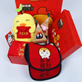 2017New Baby Clothes Bibs Socks Toy Set Chick Plush Toy Red Romper New Year Bibs Towel Socks Baby Infant Newborn Gift Set