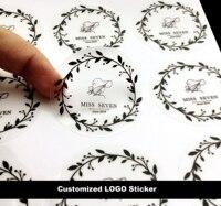 Dostosuj LOGO Przezroczyste Naklejki Naklejki Etykiety Marki Papier Pakowy/MATOWE ZŁOTO/Srebrny Logo Uszczelnienie Naklejki Hurtowych
