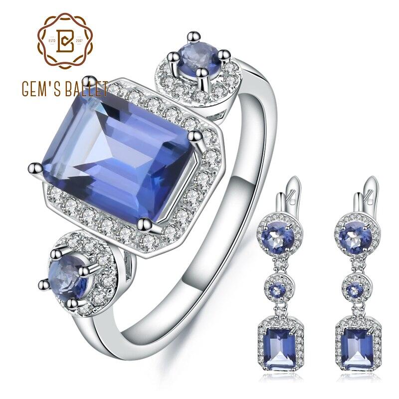 GEM'S บัลเล่ต์ธรรมชาติ Iolite สีฟ้า Mystic Quartz Vintage ชุดเครื่องประดับ 925 เงินสเตอร์ลิงต่างหูแหวนสำหรับงานแต่งงาน-ใน ชุดอัญมณี จาก อัญมณีและเครื่องประดับ บน   1