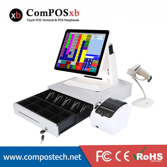 Point of sale all in a pos system touch screen computer POS with printer/scanner/cash drawer point of sale pos machine