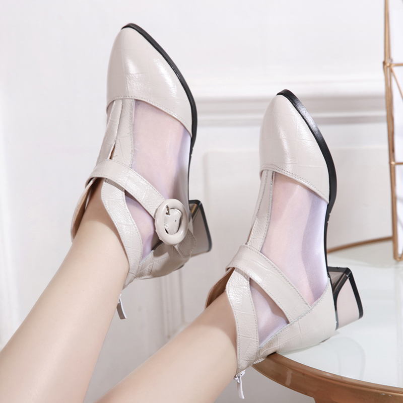 GKTINOO Women Sandals 2019 New Pointed Toes Mesh Ankle Boots Genuine Leather  Elegant Fashion Sandals Square Heel Shoes Sandals-in Middle Heels from Shoes    3