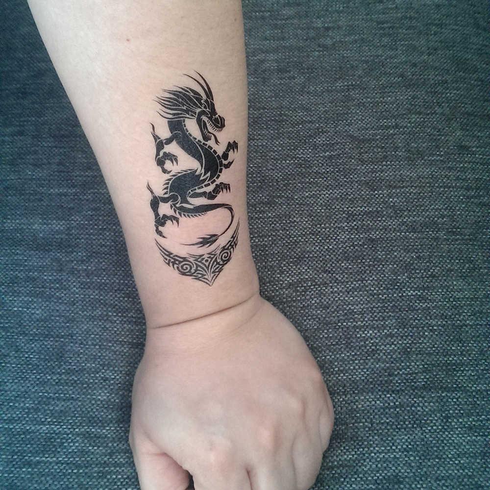 Falso tatuagem temporária transferência de água dragão chinês preto adesivos beleza corpo descartável pintado arte ao vivo da canção x431