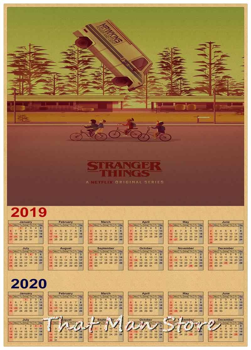 Calendario Stranger Things.Hot Sale Stranger Things 2019 2020 Calendar Poster Vintage Antique Posters Wall Sticker Home Decora 30 21cm