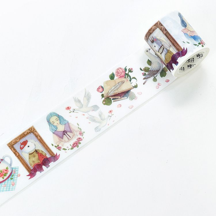 Cute Vintage Watercolor Fashion The Afternoon Tea Theme Washi Tape 50mm*5M 2018 New DIY Decoration Masking Tape Free Shipping diy cute kawaii cartoon 5mm slim washi tape lovely fruit adhesive tape for decoration photo album school free shipping 3454 page 3