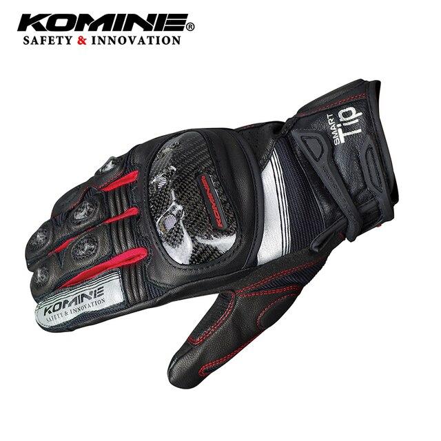 KOMINE GK193 fibra de carbono da motocicleta luvas Cavaleiro de equitação luvas de couro respirável 3D seco 3 cores