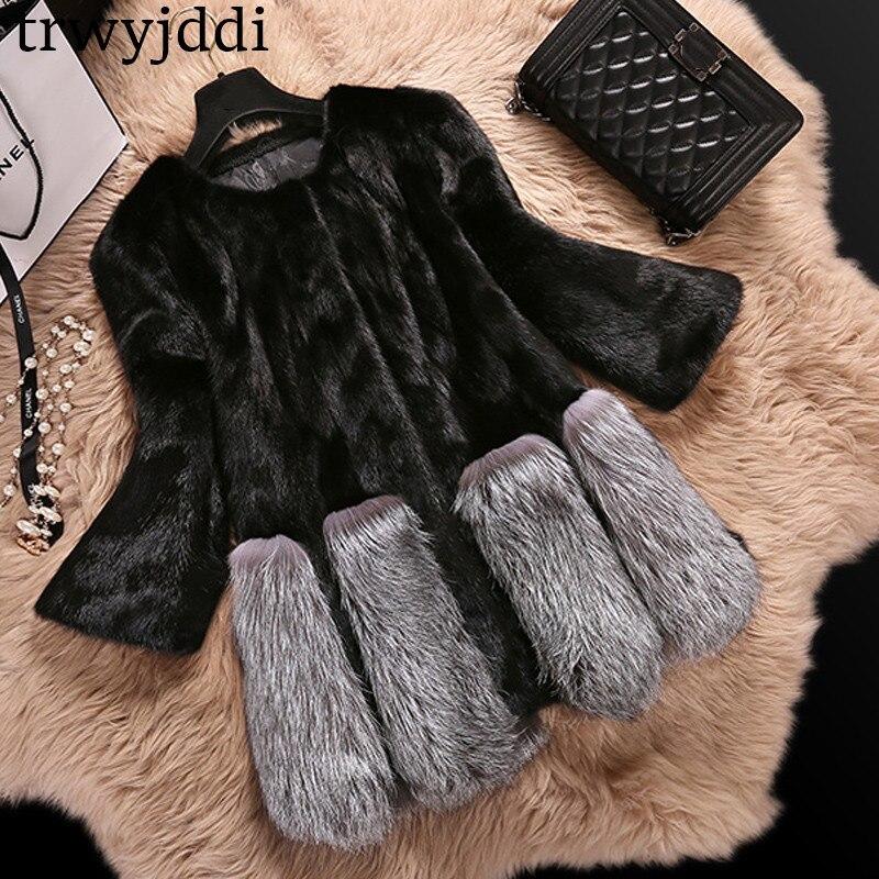 Nouveau mode 2018 hiver fausse fourrure de renard manteau femmes mi-long de luxe fausse fourrure manteaux femme veste manteau Mex vison manteau grande taille