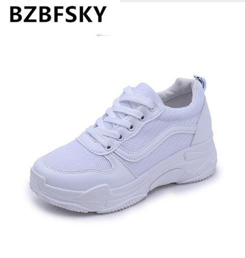 BZBFSK Shoes female 2018 new spring platform sneakers muffin with shoes women casual shoes mesh white fashion womens shoes