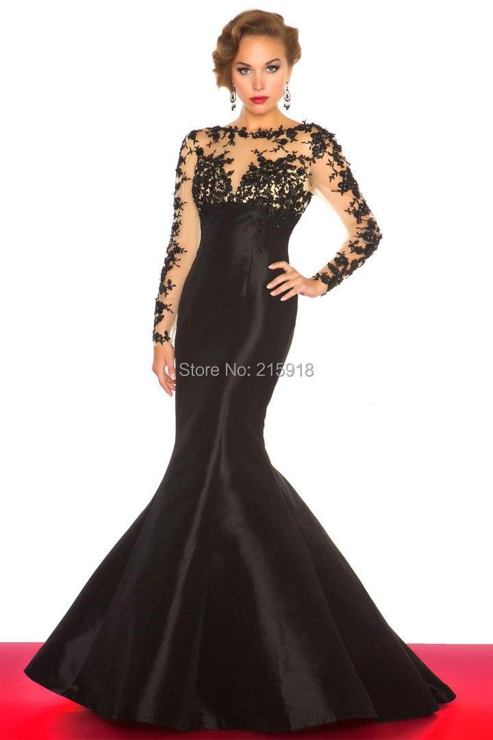 Hot Sale Black Color Mermaid Style Satin Evening Dresses Lace Long