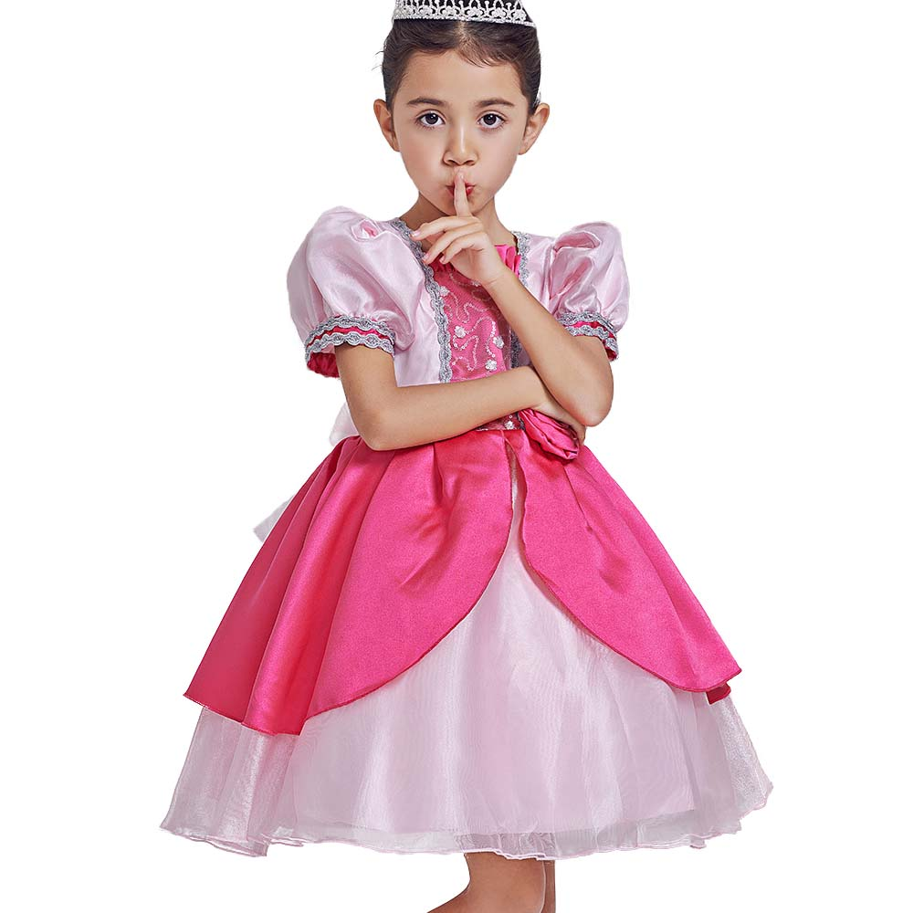 2017  Girls Party Dress Easter Sleeping Beauty Princess Dress Aurora Costume For Kid Girl Clothes Evening Dress sleeping beauty like princess pet bed for miniature poodle mini schnauzer pekingese etc