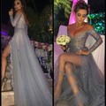 Saudi Arabic Long Sleeve Prom Dresses Silver Grey off Shoulder Sexy Side Split Dubai Party Evening Dress 2017 Robe De Soiree