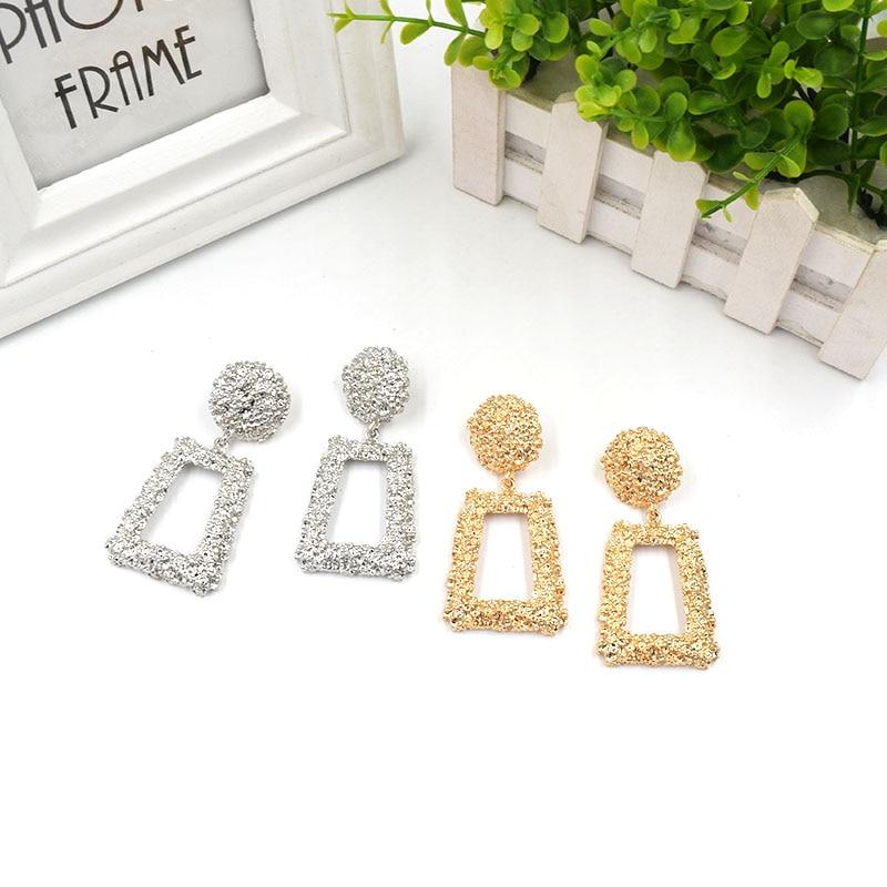 European Brand Vintage Earrings For Women Geometric Statement Earring ZA Jewelry Metal Earing Fashion Jewelry Trendy