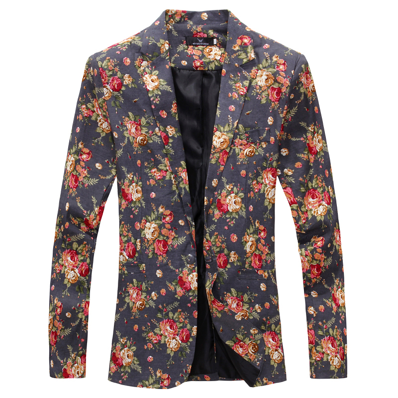 Casual Suit Jacket Fashion Blazer Business Male Unique-Style Flower Brand Men Personality