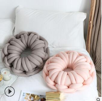 Anneau fait main en forme de noeud coussin oreiller en forme de beignet jeter oreiller dos coussin dossier chaise