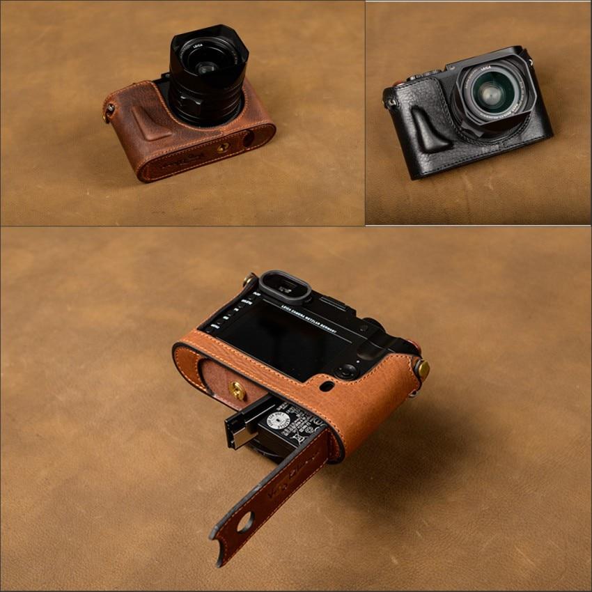 [VR] Fashion Handmade Genuine Leather Camera Case Bag Half Body For Leica Q Leica Type 116 Camera Handle Camera Bag Cover [vr] brand handmade genuine leather camera case for sony a7ii a7 mark 2 a7r2 a7r ii camera bag half cover handle vintage case