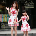 Mother Daughter Matching Dresses 2016 Brand Women Dress Princess Girls Short Dresses Flower Print Family Matching Clothes