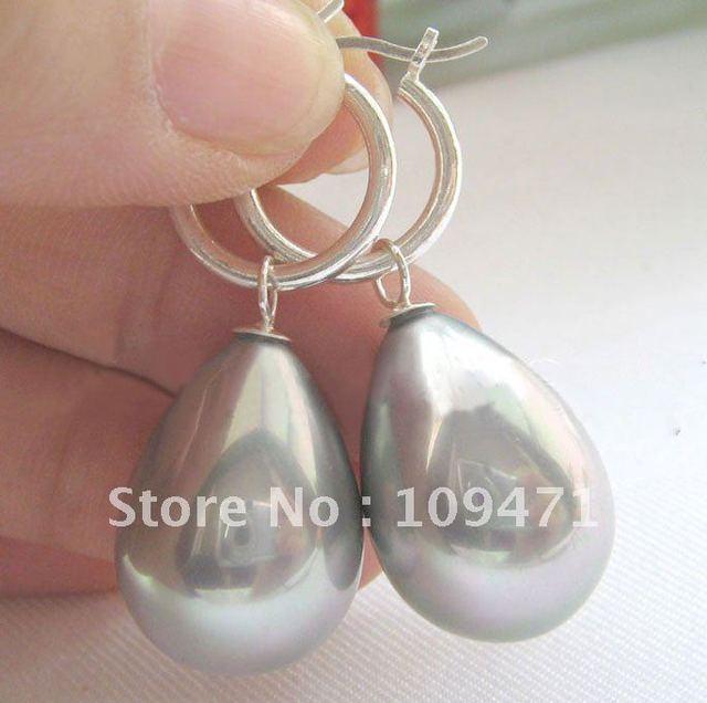20 mm gris brillante mar del sur de concha de perla pendiente de plata-925
