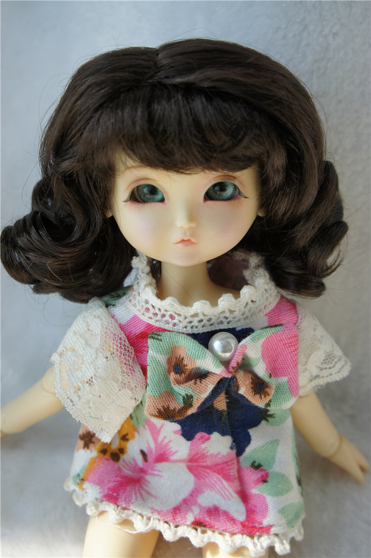 Eraser Long curly wig with Bangs synthetic Mohair doll wigs for BJD doll Lati yellow 1/8 doll wigs